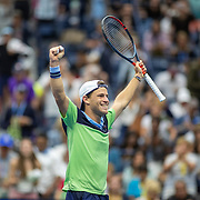 2019 US Open Tennis Tournament- Day Eight.  Diego Schwartzman of Argentina celebrates his victory against Alexander Zverev of Germany in the Men's Singles round four match on Arthur Ashe Stadium during the 2019 US Open Tennis Tournament at the USTA Billie Jean King National Tennis Center on September 2nd, 2019 in Flushing, Queens, New York City.  (Photo by Tim Clayton/Corbis via Getty Images)