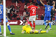 Middlesbrough forward Britt Assombalonga (9) celebrates after scoring his team's first goal during The FA Cup 3rd round match between Middlesbrough and Peterborough United at the Riverside Stadium, Middlesbrough, England on 5 January 2019.