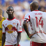 Bradley Wright-Phillips, (left) and Thierry Henry, New York Red Bulls, during the New York Red Bulls Vs Columbus Crew, Major League Soccer regular season match at Red Bull Arena, Harrison, New Jersey. USA. 12th July 2014. Photo Tim Clayton