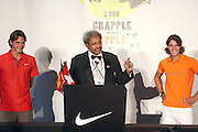l to r: Roger Federer, Don King and Raphael Nadal at the Don King and Nike presentation(press conference) ' Grapple in the Apple '  with Roger Federer and Raphael Nadal at The Madarin Oriental Hotel (North Salon) on August 21, 2008 in New York City