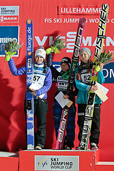 24.11.2012, Lysgards Schanze, Lillehammer, NOR, FIS Weltcup, Ski Sprung, Damen, im Bild The Podium with Sarah Hendrickson (USA), Sara Takanashi (JPN) and Anette Sagen (NOR) during the womens competition of FIS Ski Jumping Worldcup at the Lysgardsbakkene Ski Jumping Arena, Lillehammer, Norway on 2012/11/23. EXPA Pictures © 2012, PhotoCredit: EXPA/ Federico Modica