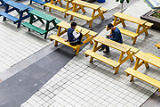 Employees relax and use their phones at an open air area during lunch break at a Pegatron Corp. factory in Shanghai, China, on Friday, April 15, 2016. This is the realm in which the world's most profitable smartphones are made, part of Apple Inc.'s closely guarded supply chain.Shanghai Factory Workers