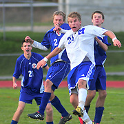 10/18/10 -- BATH, Maine. The Shipbuilder offense sputtered against the unpredictable Eagles. 2 goals late in the first half were enough to carry Mt. Ararat to victory on Monday afternoon.   Photo by Roger S. Duncan.