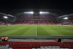 Halbfinale im Liga-Pokal Liverpool vs Leeds 1:0 in Liverpool / 291116<br /> <br /> ***LIVERPOOL, ENGLAND 29TH NOVEMBER 2016:<br /> The main stand at Anfield Stadium is seen before the English League Cup soccer match between Liverpool and Leeds at Anfield Stadium in Liverpool England November 29th 2016***