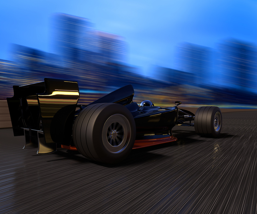 3D rendering of a self designed race car speeding in a track with a city background
