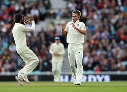 England's Sam Curran celebrates taken the wicket of India's Lokesh Rahul (not in picture) during the test match at The Kia Oval, London.