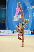 """Agiurgiuculese Alexandra during ball routine at the International Tournament of rhythmic gymnastics """"Città di Pesaro"""", 03 April,2016. Alexandra is an Italian individualistic gymnast, of Romanian origins, born in Lasi, 15 January, 2001.<br /> This tournament dedicated to the youngest athletes is at the same time of the World Cup."""