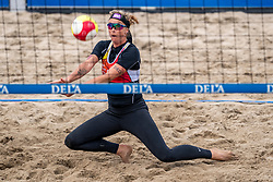 Madelein Meppelink in action in the Final of the DELA NK Beach volleyball for men and women will be played in The Hague Beach Stadium on the beach of Scheveningen on 23 July 2020 in Zaandam.