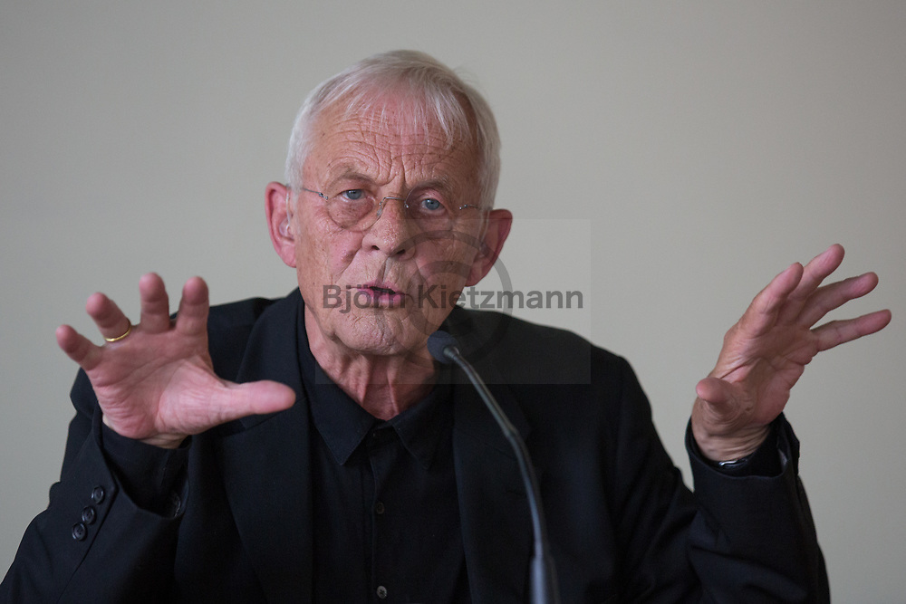 """Berlin, Germany - 19.06.2016 <br /> <br /> Laudator of the award ceremony, actor Rolf Becker. Esther Bejarano is awarded the Prize for Solidarity and Human Dignity by the Buendnis für Soziale Gerechtigkeit und Menschenwuerde (""""Alliance for Social Justice and Human Dignity"""")<br /> <br /> Laudator der Preisverleihung, der Schauspieler Rolf Becker.  Verleihung des Preises fuer Solidaritaet und Menschenwuerde des Buendnis für Soziale Gerechtigkeit und Menschenwuerde e.V. an Esther Bejarano<br /> <br /> Photo: Bjoern Kietzmann"""