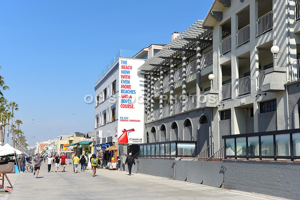 Tourists on the Boardwalk in Venice Beach