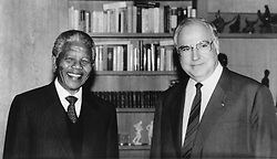 South Africa, Johannesburg - December 096, 2013.Former South African President Nelson Mandela has died in Johannesburg at the age of 95..Here pictured in Boon, Germany with Helmut Kohl  - undated. (Credit Image: © ROPI/ZUMAPRESS.com)