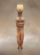 Female Cycladic statue figurine with folded arms of the Spedos and Dokathismata type. Early Cycladic Period II (2800-3200) from Naxos. National Archaeological Museum, Athens. <br /> <br /> This Cycladic statue figurine is of the Spedos type standing on tip tie with bended knees and arms folded under the breasts with head raiised. .<br /> <br /> If you prefer to buy from our ALAMY PHOTO LIBRARY  Collection visit : https://www.alamy.com/portfolio/paul-williams-funkystock/cycladic-art-artefacts.html Type into the LOWER SEARCH WITHIN GALLERY box to refine search by adding background colour, place, museum etc<br /> <br /> Visit our CYCLADIC CIVILISATIONS PHOTO COLLECTIONS for more photos to download or buy as wall art prints https://funkystock.photoshelter.com/gallery-collection/Cycladic-civilisation-Ancient-Greek-Artefacts-art-Photos-Pictures-Images/C0000CmevVvnC.XU