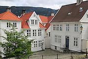Historic wooden houses in Bekketomten street, Nordnes district, Bergen, Norway