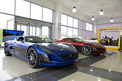 ZAGREB, Sept. 15, 2017  Photo taken on Sept. 11, 2017 shows models of Concept One, electric hypercars manufactured by Rimac Automobili in Sveta Nedelja, a township near Croatian capital Zagreb. Founded in 2009 by tech-geek Mate Rimac, Rimac Automobili has become increasingly famous as the manufacturer of the Concept One electric hypercars and provider of relevant technologies.  zf) (Credit Image: © Gao Lei/Xinhua via ZUMA Wire)