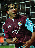 Photo: Paul Greenwood.<br />Blackburn Rovers v West Ham United. The Barclays Premiership. 17/03/2007.<br />West Ham's Carlos Tevz celebrates after scoring from the penalty