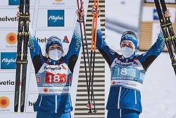 28.02.2021, Oberstdorf, GER, FIS Weltmeisterschaften Ski Nordisch, Oberstdorf 2021, Damen, Langlauf, Teamsprint, Freestyle, Siegerpräsentation, im Bild v.l.: Bronzemedaillengewinner Eva Urevc (SLO), Anamarija Lampic (SLO) // f.l.: Bronze medalist Eva Urevc of Slovenia Anamarija Lampic of Slovenia during the winner presentation for the women Cross Country team sprint freestyle competition of the FIS Nordic Ski World Championships 2021 in Oberstdorf, Germany on 2021/02/28. EXPA Pictures © 2021, PhotoCredit: EXPA/ Dominik Angerer
