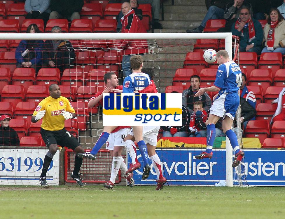 Photo: Mark Stephenson.<br />Walsall v Accrington Stanley. Coca Cola League 2. 31/03/2007. Accrington's Robert William's heads in his goal