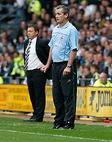 Photo: Steve Bond.<br />Derby County v Southampton. Coca Cola Championship. Play Off Semi Final, 2nd Leg. 15/05/2007. Managers George Burley (L) and Billy davies watch from the touchline