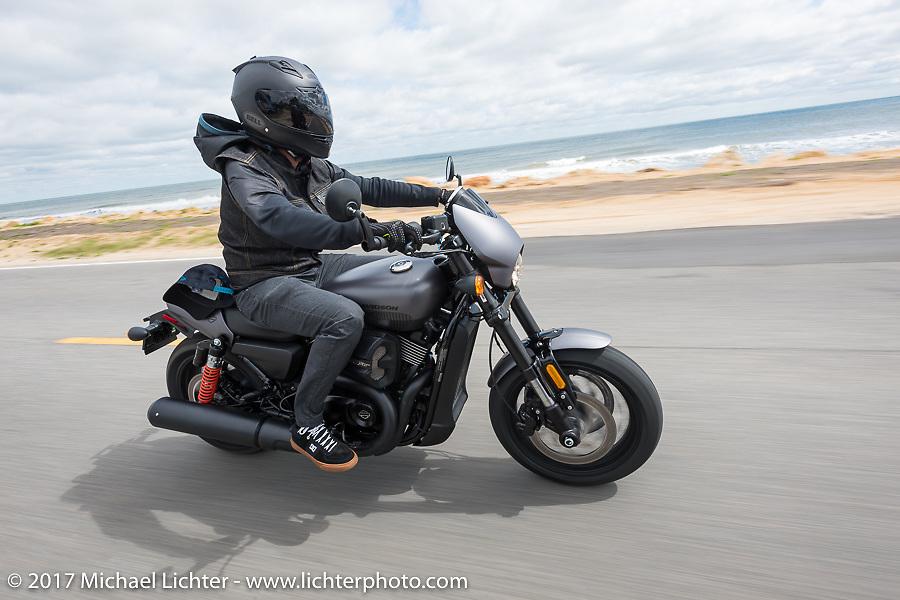 Anthony Paggio rides a 2017 Harley-Davidson Milwaukee-Eight up A1A near Flagler Beach during Daytona Beach Bike Week. FL. USA. Tuesday, March 14, 2017. Photography ©2017 Michael Lichter.