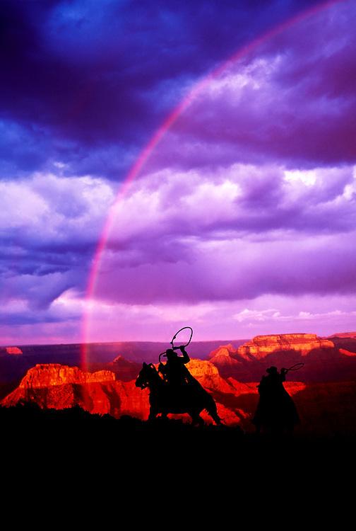 Cowboys chasing rainbow, Point Sublime, North Rim, Grand Canyon, Arizona,