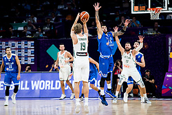 Mindaugas Kuzminskas of Lithuania vs Georgios Printezis of Greece during basketball match between National Teams of Lithuania and Greece at Day 10 in Round of 16 of the FIBA EuroBasket 2017 at Sinan Erdem Dome in Istanbul, Turkey on September 9, 2017. Photo by Vid Ponikvar / Sportida