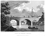 Bridgewater Canal, built to carry coals from the Duke of Bridgewater's mines at Worsley into the city of Manchester . Barge crossing the Barton aqueduct over the Irwell.  Canal opened 17 July 1761 and was later extended to Liverpool. Engineer: James Brindley. From copperplate by Pollard published in 1794.