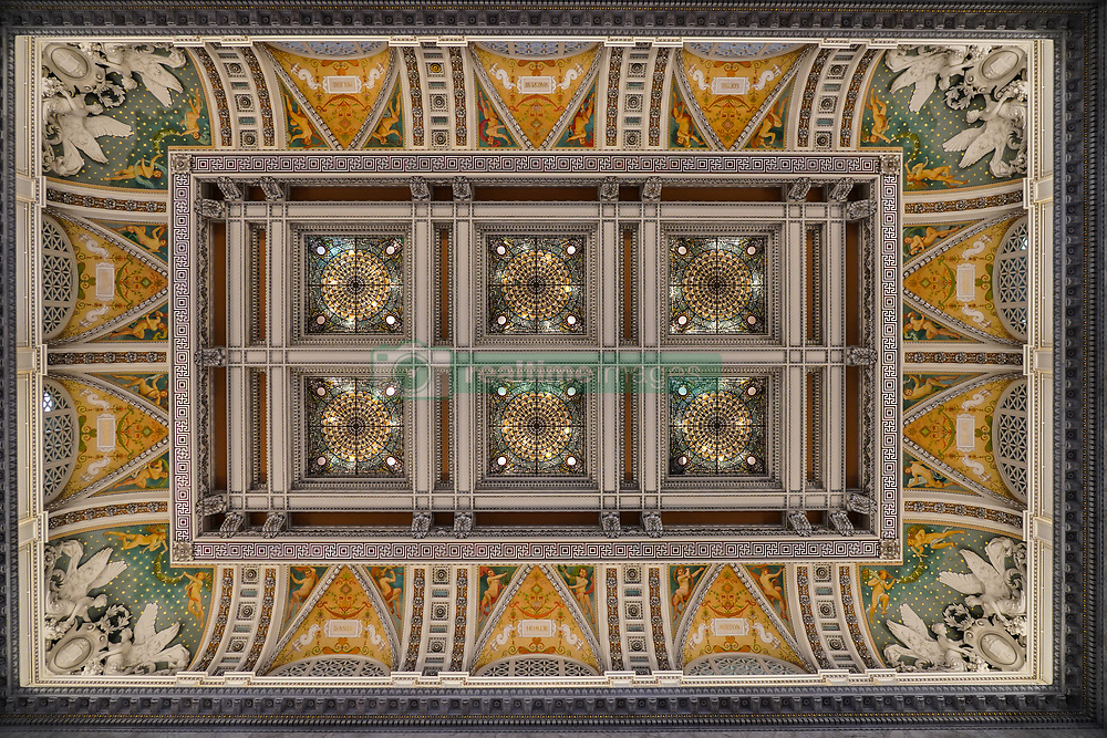 A view of the ceiling in the Congress Library in Washington DC in the United States. From a series of travel photos in the United States. Photo date: Friday, March 30, 2018. Photo credit should read: Richard Gray/EMPICS