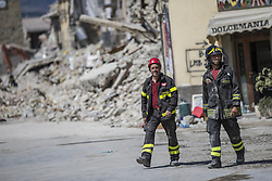 August 30, 2016 - Amatrice, Italy - Rescuers workers in Amatrice hit by earthquake on August 30, 2016 in Amatrice, Italy. Italy has declared a state of emergency in the regions worst hit by Wednesday's earthquake as hopes diminish of finding more survivors. At least 290 people are now know to have died and around 400 injured with teams continuing to search the rubble of collapsed buildings. (Credit Image: © Manuel Romano/NurPhoto via ZUMA Press)