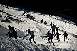 February 2, 2018 - Goms, SWITZERLAND - Athletes compete in the men's 15/15 km skiathlon during the FIS U23 Cross-Country World Ski Championships in Obergoms. (Credit Image: © Vegard Wivestad Grott/Bildbyran via ZUMA Press)