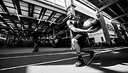 Alpine skier Phil Brown trains with strength coach Nate Morris at the Canadian Sport Institute Calgary high performance training facilities in Calgary, Alberta on August 22, 2018.