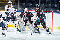 KELOWNA, CANADA - SEPTEMBER 5: James Porter #1 of the Kelowna Rockets defends the net against the Kamloops Blazers on September 5, 2017 at Prospera Place in Kelowna, British Columbia, Canada.  (Photo by Marissa Baecker/Shoot the Breeze)  *** Local Caption ***