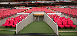A general view of the dugout and tunnel at Wembley Stadium, London.