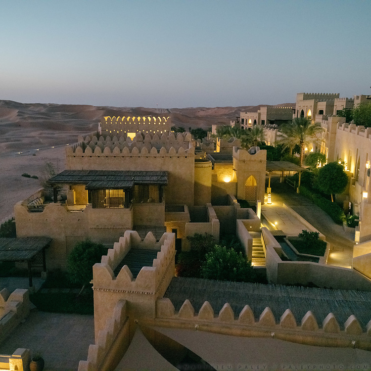 The luxurious Qasr Al Sarab resort, in the Liwa Desert. Set in the middle of the Rub' al Khali or Empty Quarter, the largest uninterrupted sand mass in the world, Qasr Al Sarab Desert Resort by Anantara is isolated from the outside world, but only 200km away from Abu Dhabi.