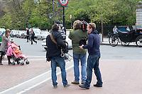 Camera crew filming on St Stephens Green in Dublin Ireland