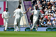 Wicket - Jasprit Bumrah of India celebrates taking the wicket of Keaton Jennings of England with Virat Kohli (captain) of India during the first day of the 4th SpecSavers International Test Match 2018 match between England and India at the Ageas Bowl, Southampton, United Kingdom on 30 August 2018.