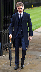 © Licensed to London News Pictures. 31/03/2018. Cambridge, UK. Actor EDDIE REDMAYNE, arrives for The funeral of Stephen Hawking at Church of St Mary the Great in Cambridge, Cambridgeshire. Professor Hawking, who was famous for ground-breaking work on singularities and black hole mechanics, suffered from motor neurone disease from the age of 21. He died at his Cambridge home in the morning of 14 March 2018, at the age of 76. Photo credit: Ben Cawthra/LNP