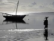 A woman carried wood in Matwemwe, Zanzibar.