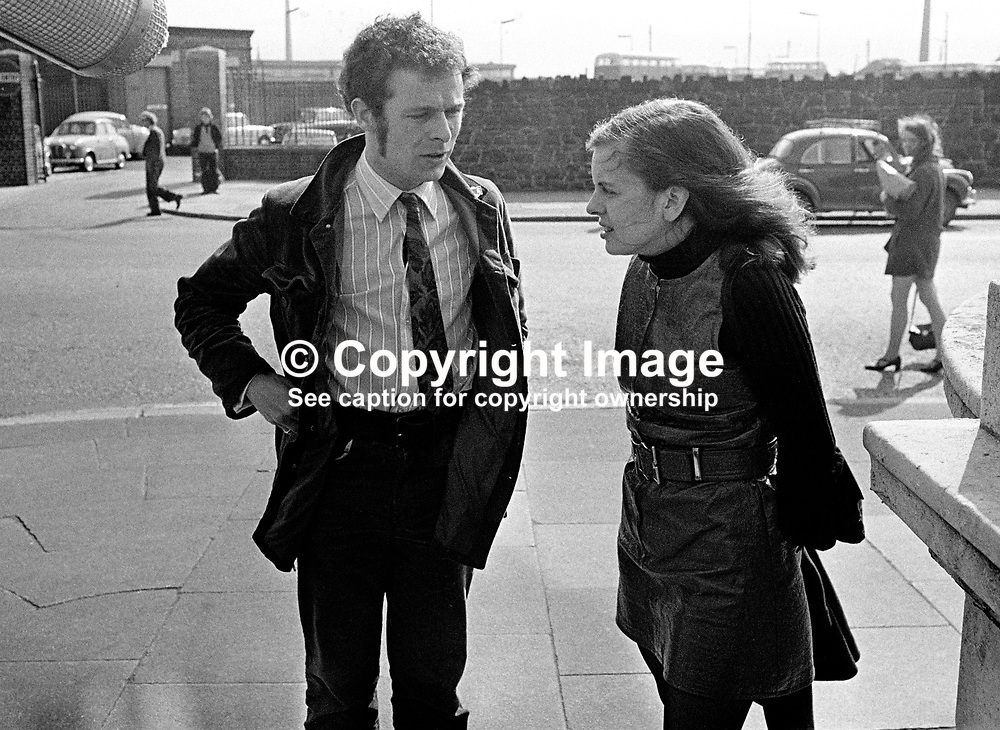 Bernadette Devlin, MP, arrives at the High Court, Belfast, to hear appeal against her 6 months jail sentence for her part in rioting in the Bogside, Londonderry, N Ireland, UK. She is accompanied by Derry political activist, Eamonn McCann. 197005260178b.<br /> <br /> Copyright Image from Victor Patterson, Belfast, UK<br /> <br /> t: +44 28 9066 1296 (from Rep of Ireland 048 9066 1296)<br /> m: +44 7802 353836<br /> e: victorpattersonbelfast@gmail.com<br /> <br /> www.images4media.com<br /> <br /> Please see my full Terms and Conditions of Use at https://www.images4media.com/p/terms-conditions - it is IMPORTANT that you familiarise yourself with them.<br /> <br /> Images used online incur an additional cost. This cost should be agreed in writing in advance. Online images must be visibly watermarked i.e. © Victor Patterson or that of the named photographer within the body of the image. The original metadata must not be deleted from images used online.<br /> <br /> This image is only available for the use of the download recipient i.e. television station, newspaper, magazine, book publisher, etc, and must not be passed on to a third party. It is also downloaded on condition that each and every usage is notified within 7 days to victorpattersonbelfast@gmail.com.