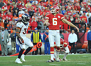 KANSAS CITY, MO - DECEMBER 01:  Kicker Ryan Succop #6 of the Kansas City Chiefs looks on after kicking an extra point against safety Omar Bolden #31 of the Denver Broncos during the first half on December 1, 2013 at Arrowhead Stadium in Kansas City, Missouri.  (Photo by Peter G. Aiken/Getty Images) *** Local Caption *** Ryan Succop;Omar Bolden