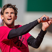 PARIS, FRANCE September 26.  Dominic Thiem of Austria   during a practice match against Novak Djokovic of Serbia on Court Philippe-Chatrier in preparation for the 2020 French Open Tennis Tournament at Roland Garros on September 26th 2020 in Paris, France. (Photo by Tim Clayton/Corbis via Getty Images)