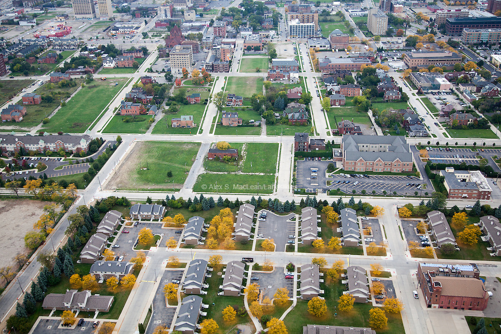 A housing complex sits outside of downtown Detroit, not integrated in to the existing urban grid