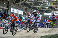 #313 (KIMMANN Niek) NED and #7 (GRAF David) SUI at Round 2 of the 2019 UCI BMX Supercross World Cup in Manchester, Great Britain