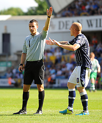 Millwall's Nicky Bailey remonstares with referee Dean Whitestone - Photo mandatory by-line: Seb Daly/JMP - Tel: Mobile: 07966 386802 03/08/2013 - SPORT - FOOTBALL - The Den - Millwall -  Millwall V Yeovil Town - Sky Bet Championship