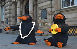 EDITORIAL USE ONLY A LEGO brick Niffler, which is a fan-favourite creature from the new J.K. Rowling film Fantastic Beasts: The Crimes of Grindelwald, appear outside the Bank of Scotland to celebrate LEGO Group's new range of Wizarding World play sets, Scotland.