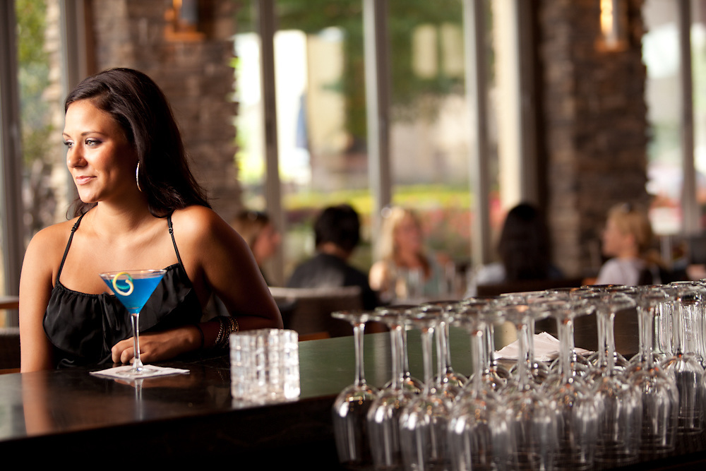 29 August 2011- Sally Stoakes (mgr.) Chiara Vieceli (black dress), and Chelsey Leiting (stripes) are photographed at Kona Grill for Her Magazine.