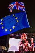 Remain protesters (pro-EU) listen to speech by Anna Soubry MP while gathering in Westminster before the result of MPs' Meaningfull Brexit vote which eventually brought about a massive defeat for Prime Minister Theresa May's Conservative government, on 15th January 2019, in Westminster, London, England.