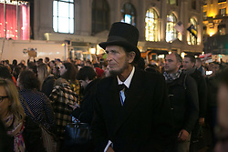 November 9, 2016 - New York, New York, USA - Abraham Lincoln lookalike marching in protest march, Trump Tower, New York, New York, November 11, 2016.  Photograph © Beowulf Sheehan/ZUMA Press (Credit Image: © Beowulf Sheehan/ZUMA Wire)