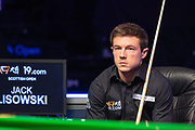 Jack Lisowski slumped on his chair as he realises yet another final has slipped away at the World Snooker 19.com Scottish Open Final Mark Selby vs Jack Lisowski at the Emirates Arena, Glasgow, Scotland on 15 December 2019.