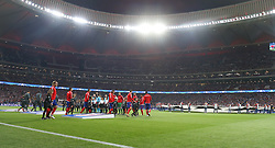 September 27, 2017 - Madrid, Spain - Chelsea FC and Atletico de Madrid players enter the pitch prior to start the UEFA Champions League group C match between Atletico Madrid and Chelsea FC at Vicente Calderon Stadium on September 27, 2017 in Madrid, Spain. (Credit Image: © Ahmad Mora/NurPhoto via ZUMA Press)