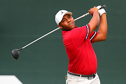 August 25, 2018 - Paramus, NJ, U.S. - PARAMUS, NJ - AUGUST 25:  Harold Varner III of the United States plays his shot from the first tee  during the third round of The Northern Trust on August 25, 2018 at the Ridgewood Championship Course in Ridgewood, New Jersey.   (Photo by Rich Graessle/Icon Sportswire) (Credit Image: © Rich Graessle/Icon SMI via ZUMA Press)